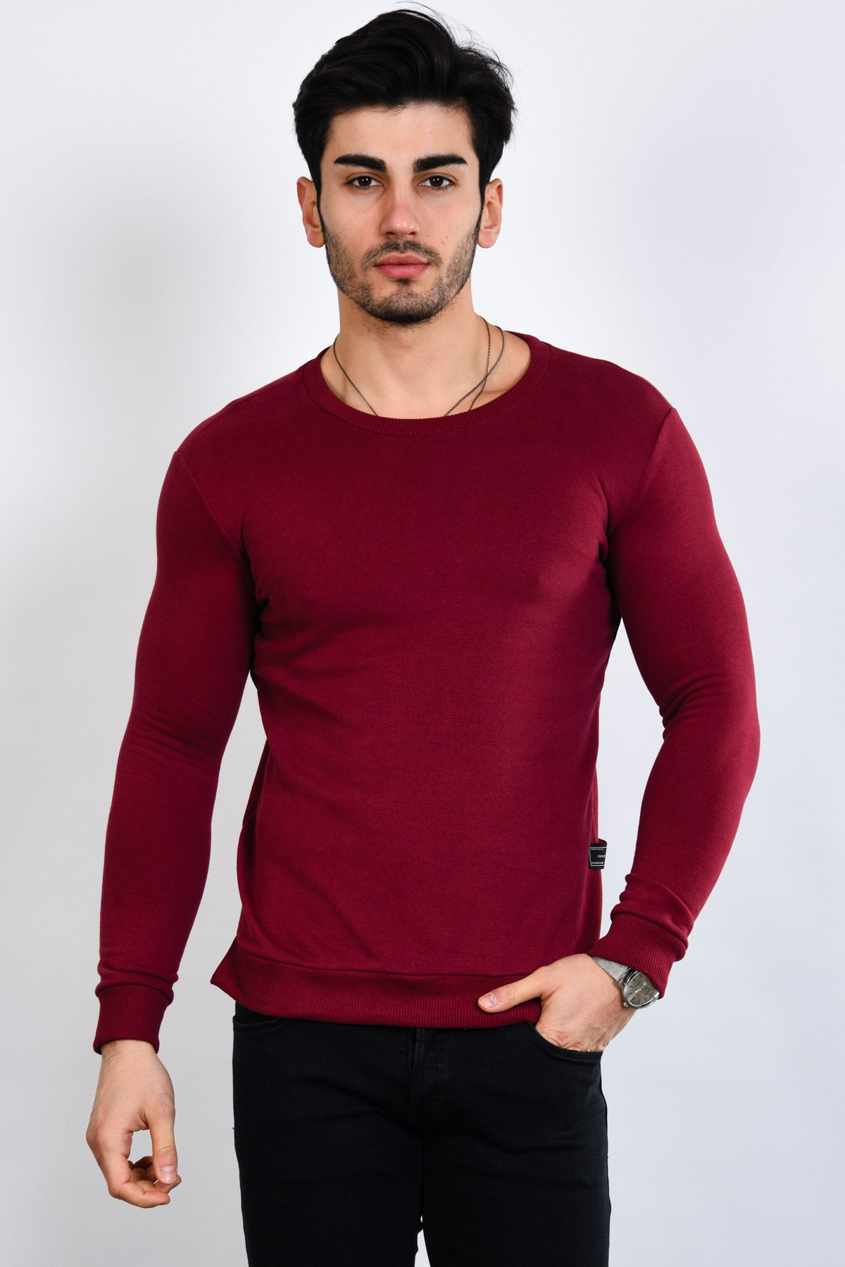 Erkek Basic Bordo Sweatshirt - 34123