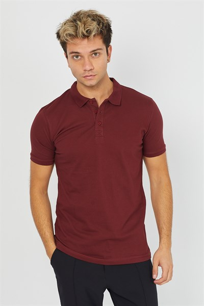 Erkek Polo Yaka Bordo T-Shirt